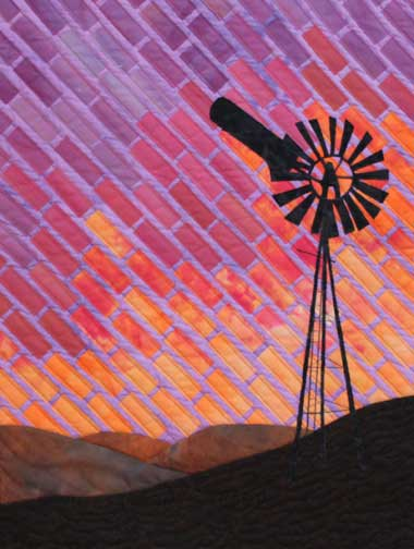 quilt showing Australian windmill with sunset in background