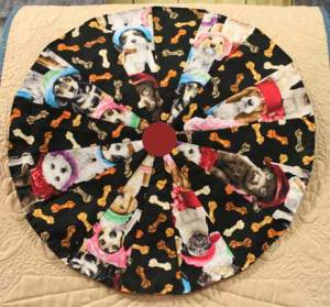 Circular block made with dog fabric