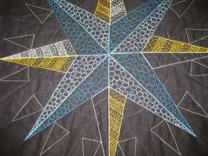 stitching in centre of quilt